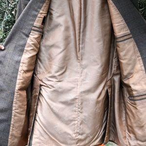 NW BRIONI Reg Plaid Flannel Wool Sport Coat, 44L